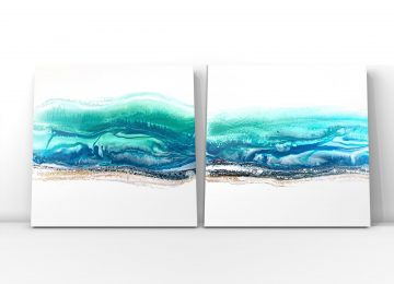 Fluid Art by Julie Vatcher Seascape Diptych
