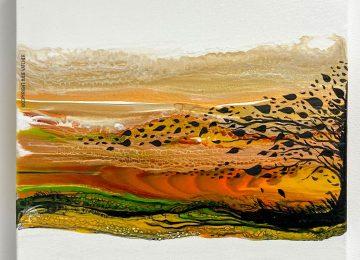 Fluid Art Landscape by Julie Vatcher