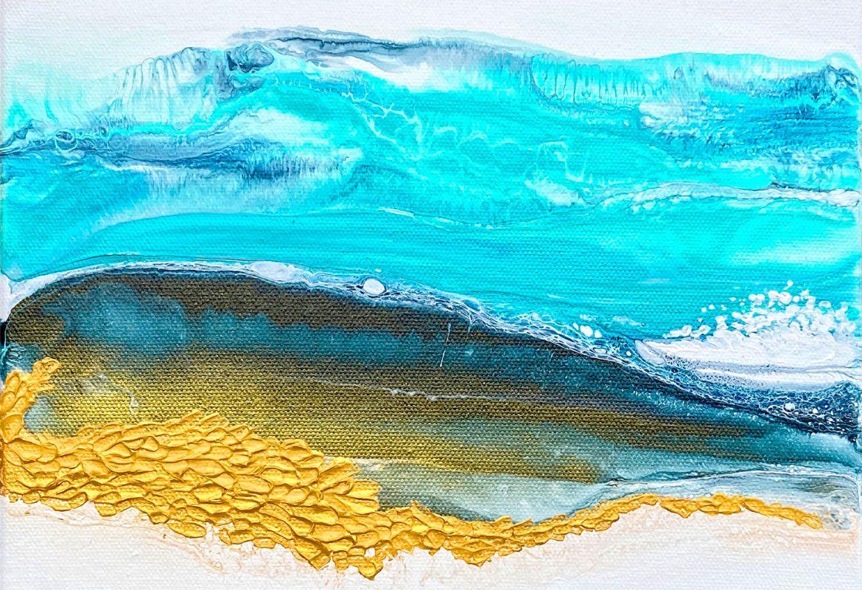 Ocean Cove Fluid Art by Julie Vatcher