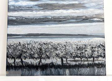 Grape Vines and Horizon Lines Fluid Art by Julie Vatcher